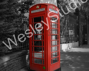 London Phonebooth, England. Red, Black and white Photography. Iconic- spring, summer