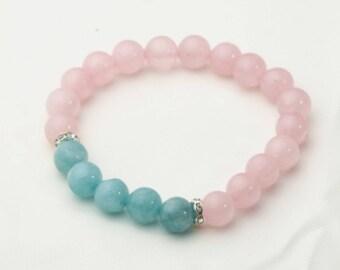 Pink Crystal Gemstone Bracelet, Blue Amethyst Bracelet, Real Gemstone, Hand Bracelet, Stretch Bracelet.