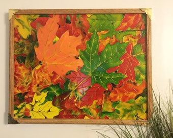 Essence of Autumn Faux Vitrail Painting|Pébéo's Vitrail Colours |20x16 Canvas|Artist signed|Autumn Leaves-Maple, Oak