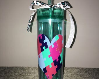 Personalized Puzzle Piece Autism Special Education Tall Skinny Teacher Drinking Tumbler