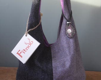Harris Tweed Hobo Bag - Charcoal Grey/Lilac