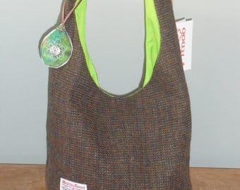 Harris Tweed Hobo Bag - Moss Green/Brown