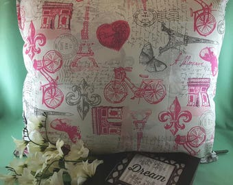 Paris Themed Kids Pillow - Eiffel Tower Bedroom Decor - Fleur-de-Lis Accent - French Themed Girls' Pillow - Cycling Decor