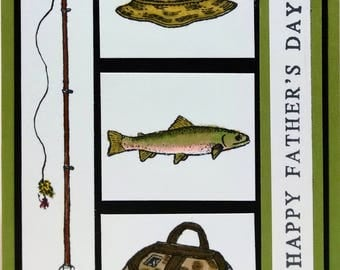 Father's Day Card,Fishing Card, Handmade Card, Greeting Card, Masculine Card