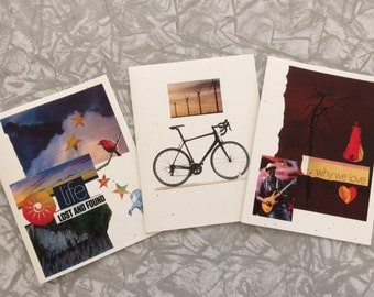 Thoughtful cards for women. Prints made from original collages by K. Gold.