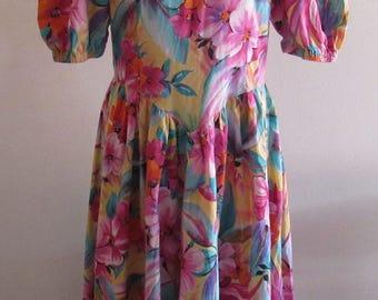 Vintage 80s Floral Spring Dress