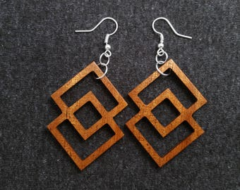 Double square wood earrings, mahogany and silver 0061