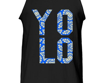 New Men's Printed YOLO Floral Pattern Cotton Tank Top