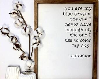 Blue Crayon Sign