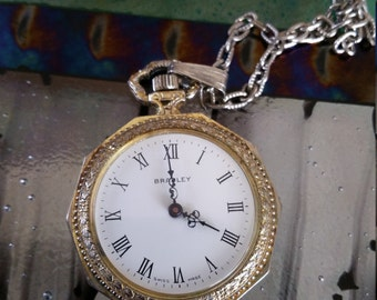 Bradley Swiss made ladies pendant watch with chain