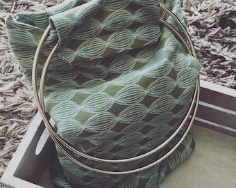 REF 0071 - Mini green and blue beach bag has patterns