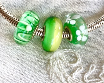 Lampwork Beads, Green Murano Glass Beads, Euro Beads, Pandora Style, Large Hole Beads, Troll, 3 Beads Set, Sterling Silver Core