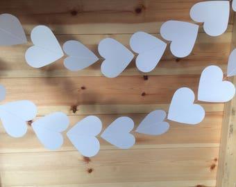 White Heart Garland, Wedding Decor, Party Decor, Celebrations