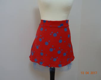 Red skirt and light blue