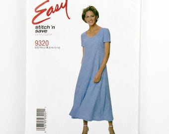 McCall's Pattern 9320, Dress, Size 8, 10, 12, 14, Easy Stitch and Save, Dress Sewing Patterns, High-waisted, Pullover, Short Sleeves, UNCUT