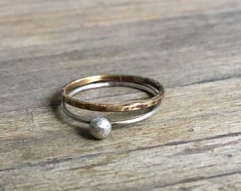 Stacking Rings // Textured Brass // Sterling Silver Ball Ring // Silver & Gold Ring Set