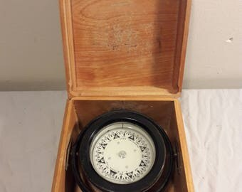 Vintage E.S. Ritchie Nautical Ship Compass