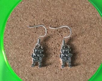 Handmade silver robot dangle earrings