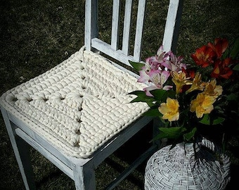 Three Chair Pads, Crochet Cotton Chair Pads, Kitchen Chair Pad, Dining Chair Pads, Chair Cover