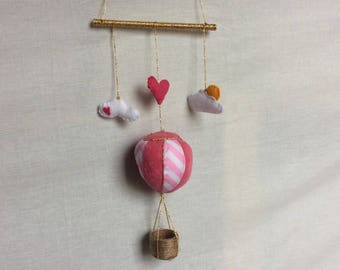 Pink hearts hot air balloon baby mobile