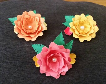 Paper flower barette for bridesmaid or flower girl (WEDDING COLLECTION)