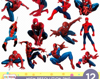 Spiderman CutOut Printable, Marvel the amazing Spider-Man PNG Files, Superheroes Decoration Scrapbook Stickers Boy Birthday Party Clipart