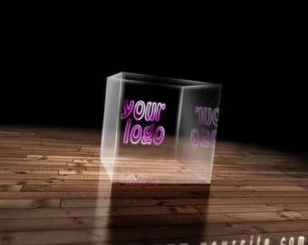 Logo in a glass cube, Video Intro or Outro