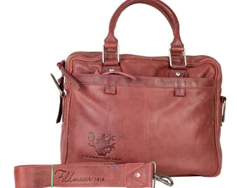 Red files & business bag made of genuine leather, by Feldmoser1414, made in Austria