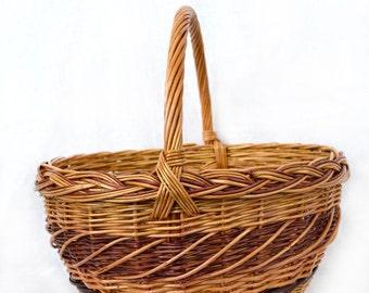 Wicker basket; Willow wicker basket; round basket; Easter basket; willow basket; Handmade basket; Handmade woven; Natural basket; Gift