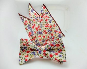 Bow Tie Vintage, Hipster , Pocket Square FREE Collar Stay. FREE SHIPPING