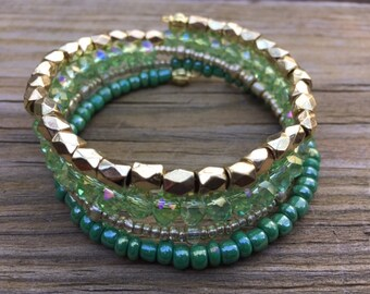 Caribbean Green and Gold Memory Wire Bracelet