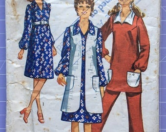 Vintage 1970s Simplicity Pattern 9228, Maternity Dress or Tunic, Vest-Coat and Maternity Pants, Size 14