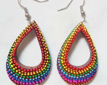 Aboriginal style multicolored painted wooden earrings