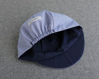 Pale denim cycling cap with various linings