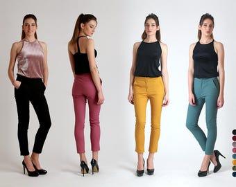 New!!! Cigarette Woman Trousers /  Mid Rise Pants / Women's Pants / Skinny Pants / Handmade Pants / Elegant Pants / Comfortable Pants