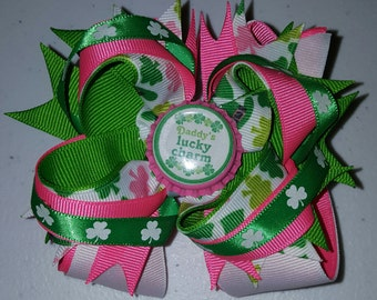 Pink and Green St. Patrick's Day bow