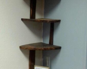 Rustic Corner Shelf made with reclaimed barn wood