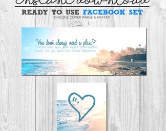 ready to use facebook cover image set, premade social media page graphics, facebook timeline banner cover quote image, instant download set