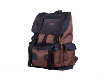 Waxed Canvas Backpack,Brown Backpack,Canvas Rucksack,Vegan Backpack,Backpack Travel,Men's Backpack,Waterproof Backpack,Vintage Backpack