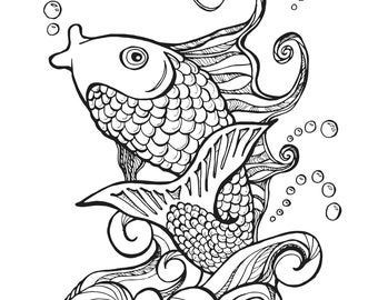 Koi Fish Adult Coloring Page