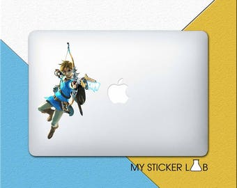 Zelda Link MacBook Decal MacBook Sticker Breath Of The Wild Apple Logo Apple Decal Archery Bow Arrow Hunting Laptop Sticker Vinyl bn519