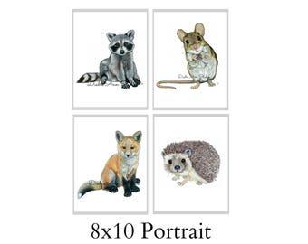Set Of Four 8X10 Forest Animal Nursery Fine Art Prints - Automatic FREE Shipping - SKU103