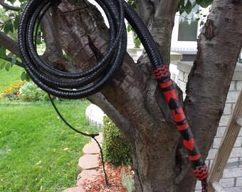 Bull Whip 8 Ft. Gambler Black & Red Kangaroo Custom/Original Bullwhip
