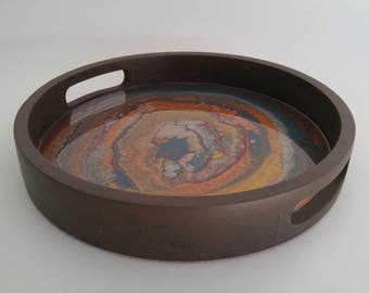 Wood serving tray with cork bottom