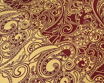 Fabric Damask Fantasy bordeaux  (Jacquard weaving)
