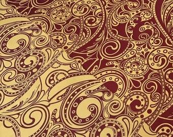 Fabric Damask Fantasy bordeaux  (Jacquard weaving)