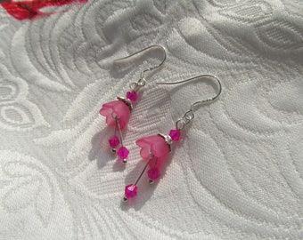 Spring flower earrings pink
