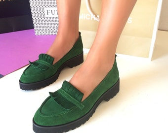 Slip ons Oxford Shoes  Leather Shoes for Women Flat Shoes Casual Shoes Womens loafers green