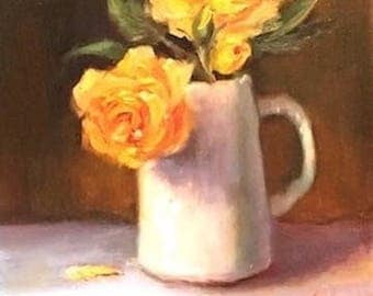 yellow rose still life painting, original oil painting, Brenda Laney, yellow rose, wall decor, wall art, painting on canvas