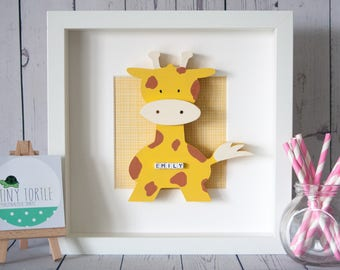Wooden giraffe frame, new baby gift, christening gift, baby shower gift, nursery decor, personalised gift, birthday gift, wooden box frame